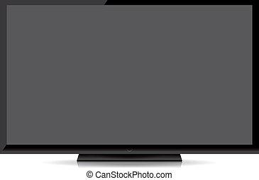 套間, tv 屏幕, 現代, 被隔离, 背景, 空白, 白色