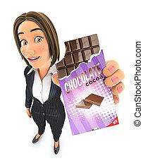 女商人, 巧克力塊, 3d, 藏品