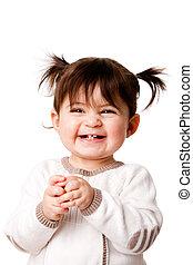 女嬰, 學步的小孩笑, 愉快