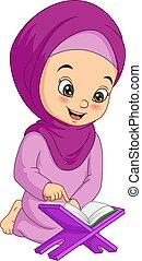 女孩讀物, quran, 穆斯林, 卡通