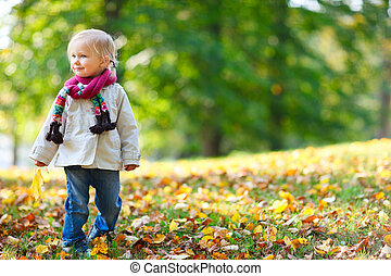 女孩, 公園, 秋天, 學步的小孩