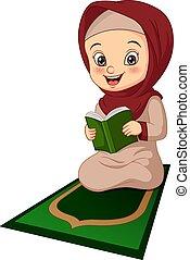 女孩, 卡通, 閱讀, 穆斯林, 書, quran