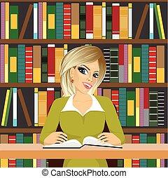女孩, 友好, 學生, 學習, 圖書館, 白膚金髮