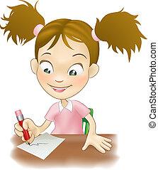 女孩, 寫, 年輕, 書桌, 她