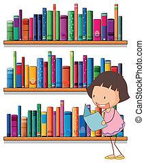 女孩, 年輕, 閱讀, 書架, 微笑, 前面