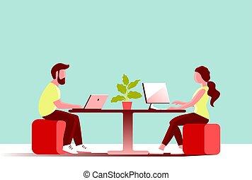 女孩, 年輕, computer., 辦公室, 人, 工作
