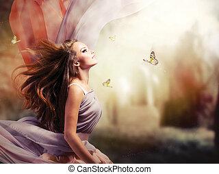 女孩, 幻想, 不可思議, 春天, 花園, 美麗, 神秘