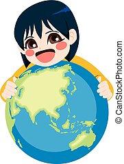 女孩, 擁抱, 孩子, 地球, 亞洲人