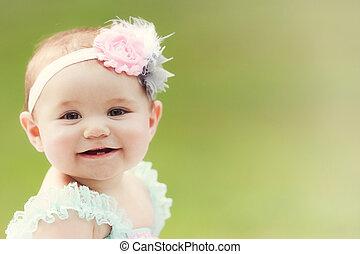 女孩, 日語, 外面, 微笑, 學步的小孩, 高加索人