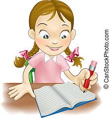 女孩, 書, 年輕, 寫