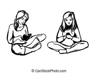 女孩, 書, 年輕, 電話