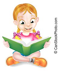 女孩, 書, 惊人, 閱讀, 卡通