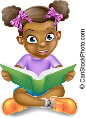 女孩, 書, 閱讀, 卡通