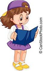 女孩, 書, 閱讀, 年輕