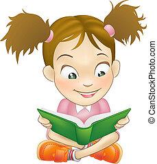 女孩, 書, 閱讀, 插圖, 年輕