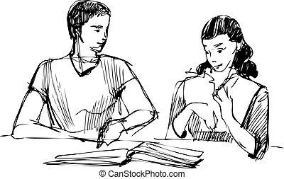 女孩, 書, 閱讀, 桌子, 人