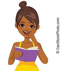 女孩, 書, 閱讀, 黑色