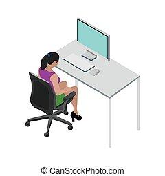 女孩, 矢量, 運作的 辦公室, 背景。, 插圖, 白色, 圖片