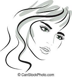 女孩, 設計, face., 美麗, elements.