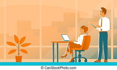 女孩, 辦公室。, 商人, 工作