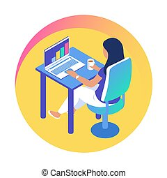 女孩, 辦公室 工作, laptop., 現代