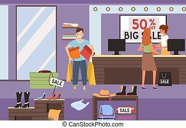 女孩, hands., 出納員, 支付, 發球, 他的, 購買, 人, 客戶, 購物, checkout., 袋子