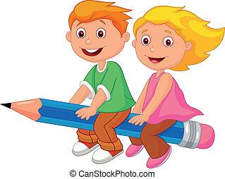 女孩, pe, 男孩, 卡通, 飛行