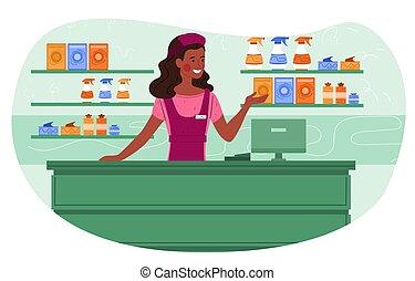 女性, 超級市場, 家庭, 問候, 微笑, 出納員, 顧客, 出售, 化學制品