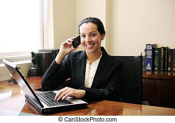 女性, 辦公室, 談話, 膝上型, 電話, 律師, 使用