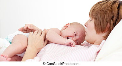 她, 嬰孩, 母親, 親吻, 新生, 愉快