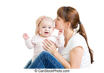 她, 母親, 嬰孩, 親吻, 女孩, 愉快