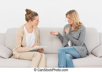 她, 臨床醫學家, 談話, 長沙發, 婦女, 白膚金髮