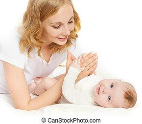 她, family., 床, 母親, 嬰孩, 玩, 愉快