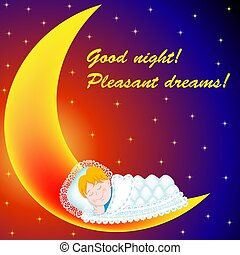 好, sweetly, 插圖, 月亮, 愉快, night!, 睡著, dreams!, 背景, 嬰孩