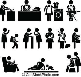 妻子, 婦女, 母親, 每日 慣例