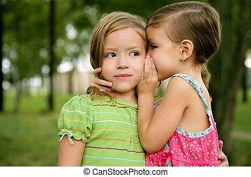 姐妹, 耳語, 女孩, 很少, 二, 雙生子, 耳朵