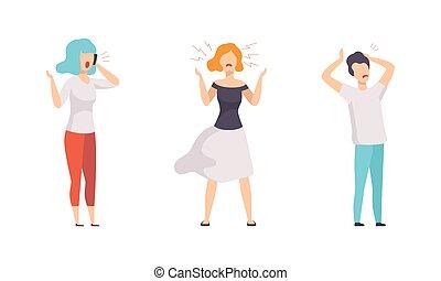 威脅, 集合, 狂怒, 進取, 插圖, 字符, 憤怒, 爭辯, 手勢, 人們, 男性, 呼喊, 矢量, 套間, 憤怒, 女性