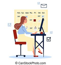 婦女坐, 書桌, 衣服, 工作
