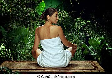 婦女考慮, 年輕, 環境, 礦泉, 回歸線, 好, 看法
