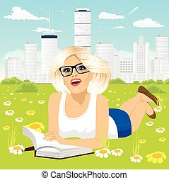 婦女, 下來, 書, 閱讀, 草, 躺