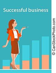婦女 事務, 站立, 金融, 美麗, growth., 背景, 圖表