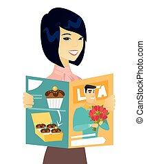 婦女 事務, magazine., 年輕, 亞洲人, 閱讀
