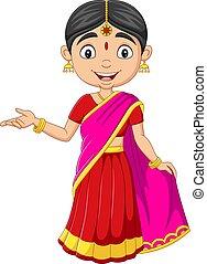 婦女, 印第安語, 衣服, 卡通, 傳統