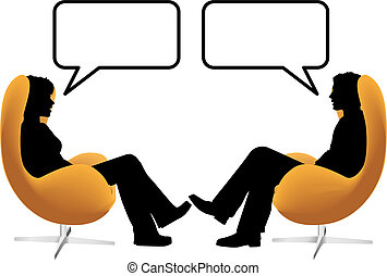 婦女, 坐, 椅子, 夫婦, 蛋, 談話, 人