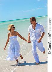 婦女, 夫婦, 年輕, 跑, 人, 海灘, 愉快
