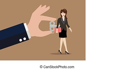 婦女, 她, 事務, 旋轉, 後面手, 卷緊鑰匙