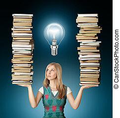 婦女, 她, 很多, 書, 手, 燈泡
