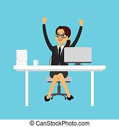 婦女, 她, 手, 向上。, 成功, 快樂, 事務