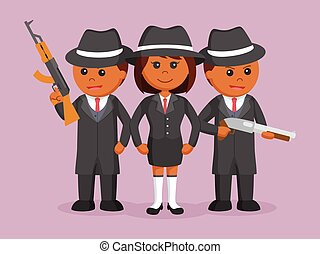 婦女, 她, 機組, 老板, african, 黑手黨