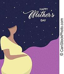 婦女, 怀孕, 母親節, 卡片, 愉快